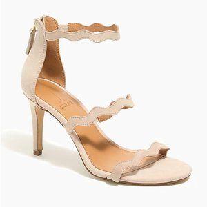 NEW J. Crew triple-strap scalloped suede heels 7.5